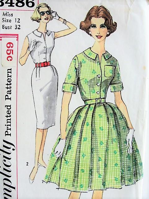 1960s CLASSIC Slim or Full Shirt Dress Simplicity 3486 Bust 32 ...