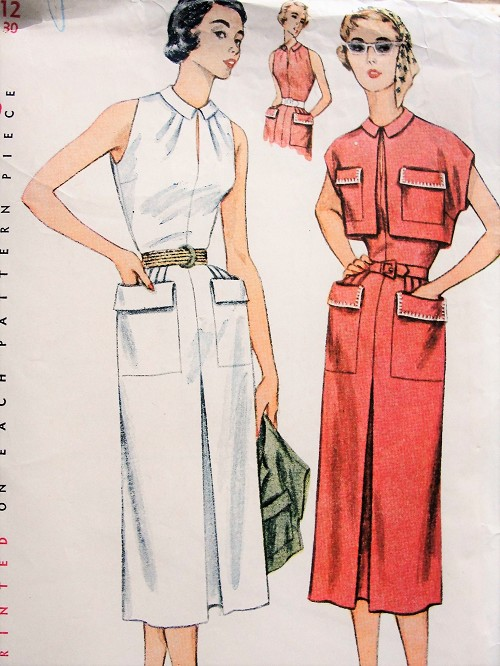1950s Vintage BREEZY Sleeveless Dress with Pockets and Bolero Simplicity 3613 Sewing Pattern Bust 30