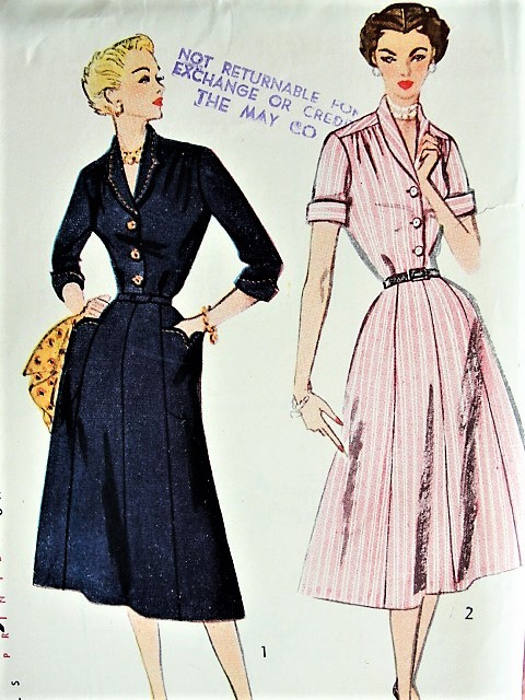 Vintage 1950s LOVELY Shirt Waist Dress with Pockets Simplicity 3708 Sewing Pattern Bust 38