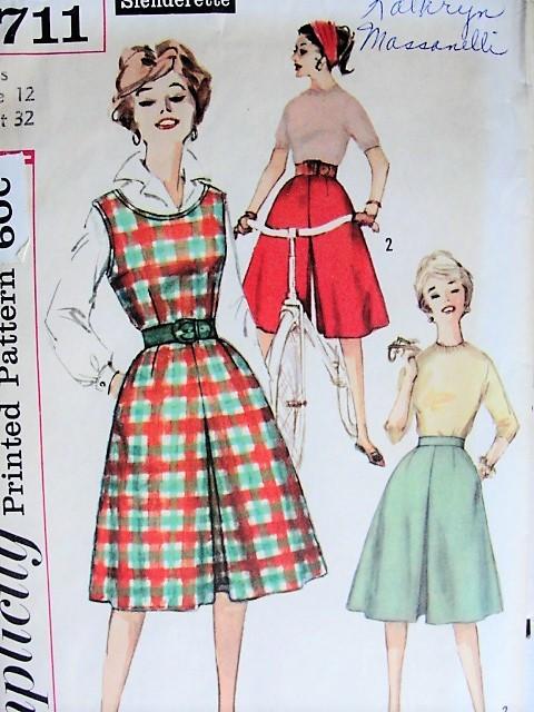 1960s RETRO Divided Skirt, Jumper Simplicity 3711 Bust 32 Vintage ...