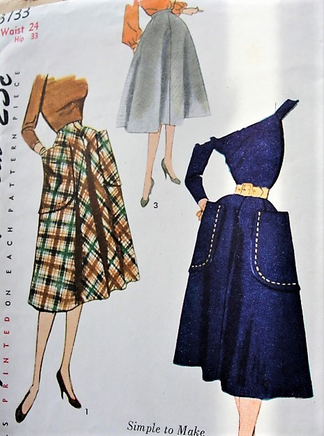 1950s EASY to MAKE Skirt Pattern SIMPLICITY 3733 Lovely Flared Skirt Three Style Versions Waist 24 Vintage Sewing Pattern FACTORY FOLDED