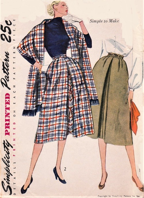 1950s CLASSY Skirt and Stole Pattern SIMPLICITY 3769 Flared Skirt Inverted Front Pleat, Lovely Design Waist 26 Vintage Sewing Pattern