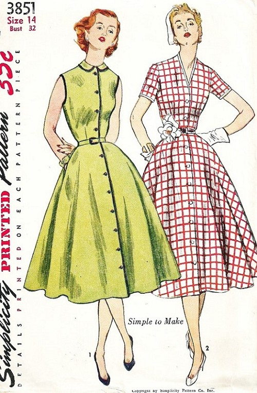 1950s PRETTY Day Dress Pattern SIMPLICITY 3851 Peter Pan or V Neckline Full Skirt Dress Front Button Bust 30 Vintage Sewing Pattern