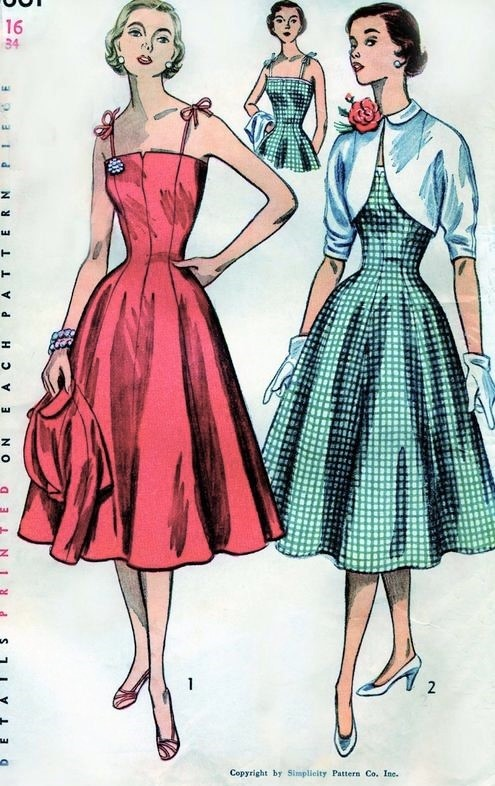 1950s BEAUTIFUL Dress and Bolero Jacket Pattern SIMPLICITY 3861 Perfect Summer Sundress with Princess Seams and Cover Up Jacket Bust 32 Vintage Sewing Pattern