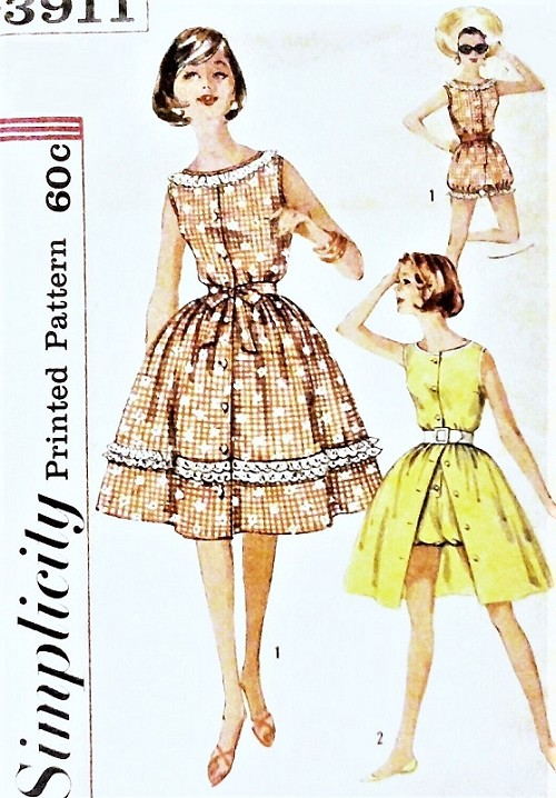 1950s CUTE Playsuit and Skirt Pattern SIMPLICITY 3911 Beachwear ...