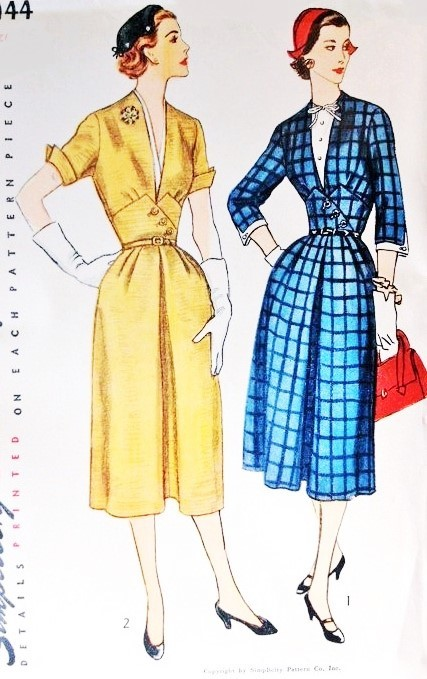 1950s CLASSY Midriff Dress Pattern SIMPLICITY 4144 Daytime or After 5 Dress Deep V Neckline or Detachable Dickey Bust 32 Vintage Sewing Pattern FACTORY FOLDED
