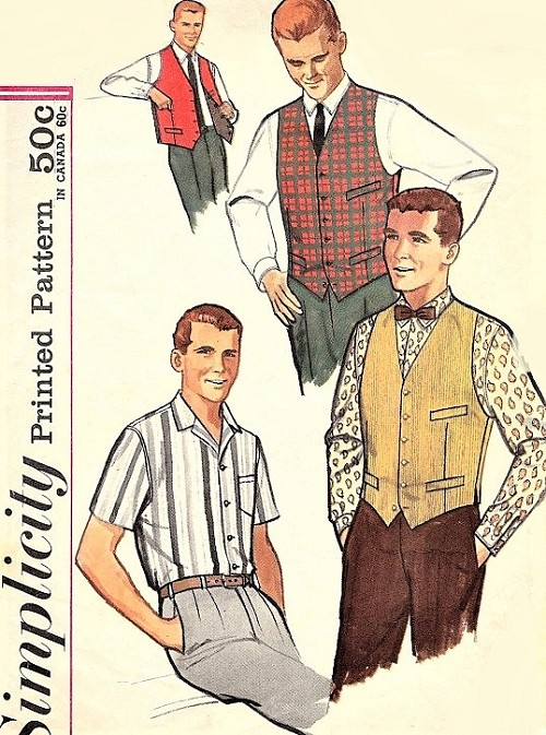 1960s CLASSIC Gentlemens Shirt,Vest and Reversible Vest Pattern SIMPLICITY 4160 Short or Long Sleeved Shirt Chest 40 Vintage Mens Sewing Pattern