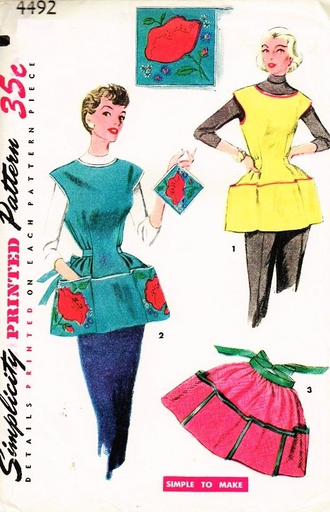 50s Simplicity 4492 Apron Pattern Hostess Half Apron with Large Pockets,Cobble Apron and Potholder Includes Iron On Transfer Size Medium Vintage Fifties Sewing Pattern