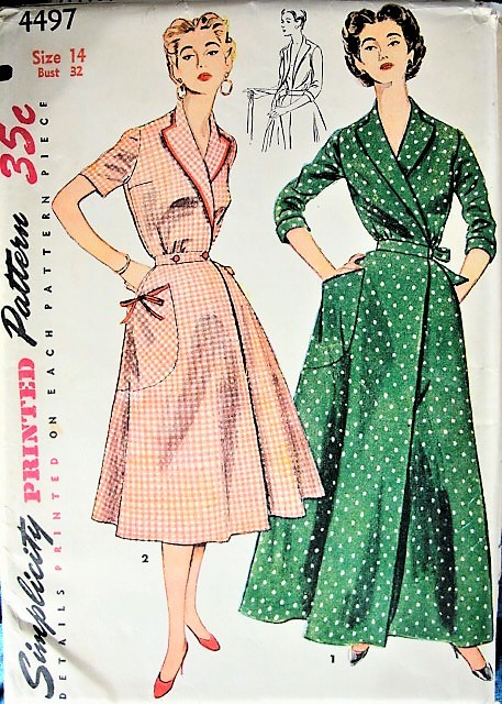1950s LOVELY House Coat  or House Dress Pattern SIMPLICITY 4497 Side Wrap Brunch Coat, Robe, Cute House Dress Version Bust 32 Vintage Sewing Pattern FACTORY FOLDED