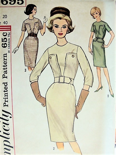 Vintage 1960s CHIC Belted Dress In Three Versions With Optional Peplum Simplicity 4695 Sewing Pattern Bust 40