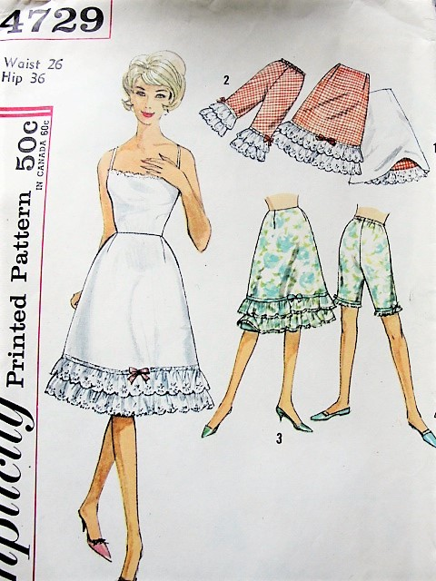1960s CUTE Reversible Half Slip and Pettipants Bloomers Pattern ...