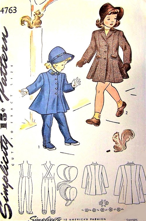 1940s  ADORABLE Little Girls Toddlers  Princess Coat, Leggings and Hat Pattern SIMPLICITY 4763 Childrens Size 3 Very Sweet Vintage Sewing Pattern