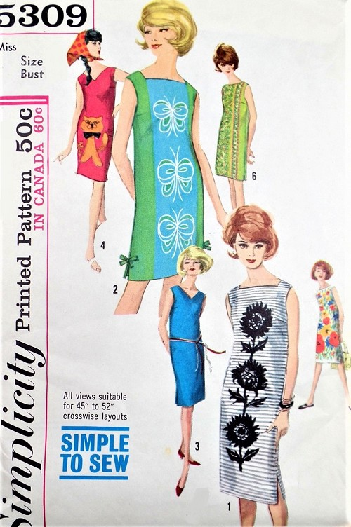 1960s FAB Shift Dress Pattern SIMPLICITY 5309 Perfect For Panel ...