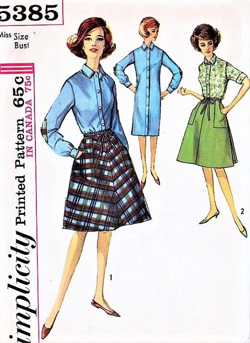 1960s MAD MEN Era Slim Shirtdress and Wrap Around Skirt With Cargo ...
