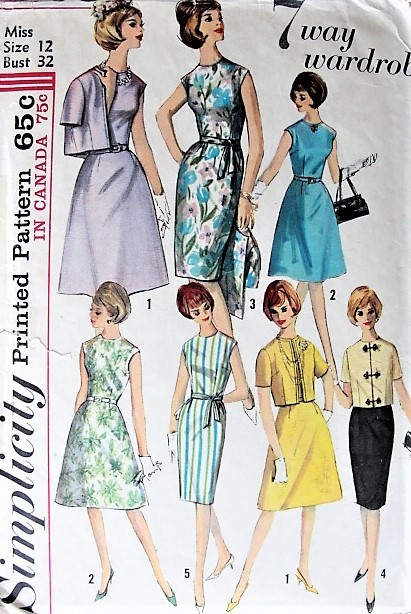 1960s CHIC A-Line or Slim Dress and Jacket Simplicity 5398 Bust 32 ...