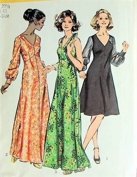 Retro 1970s ELEGANT V-Neck or Halter Evening Dress in Three Styles Simplicity 5432 Vintage Sewing Pattern Bust 45