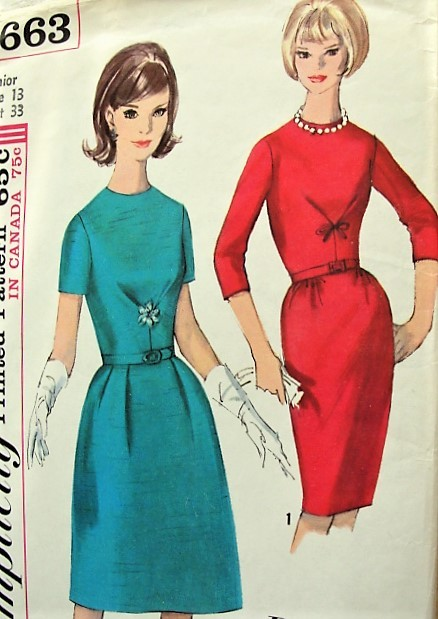 1960s LOVELY Day or Cocktail Dinner Party Dress Pattern SIMPLICITY Paris Fashion,Jewel Neckline, Two Style Versions Figure Flattery Bust 33 Vintage Sewing Pattern