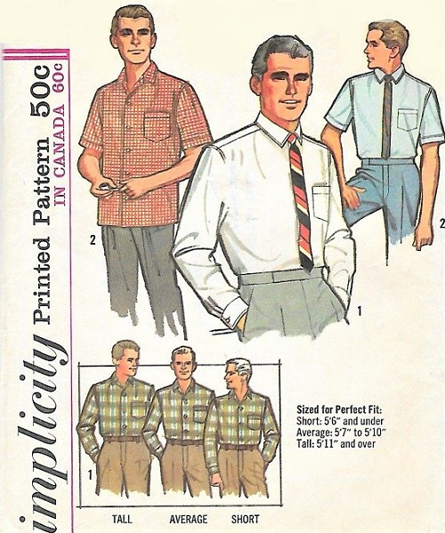 1960s Mens Proportioned Shirt with 33- 34- 35 inch Sleeves Pattern SIMPLICITY 5689 Dress Shirt or Casual Vintage Gentlemens Sewing Pattern