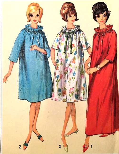 1960s PRETTY Robe Lingerie Pattern SIMPLICITY 5765 Three Style Versions, Bathrobe Lounging Robe, Brunch Coat Bust 34-36 Jiffy Vintage Sewing Pattern FACTORY FOLDED