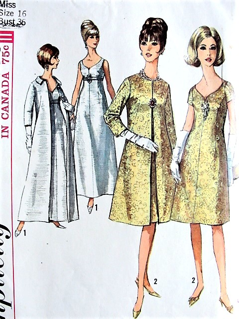 1960s STUNNING Evening Gown and Floor Length Maxi Coat Pattern ...