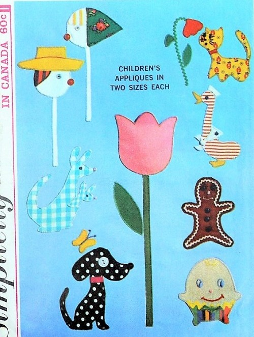 Simplicity 6259 Adorable Animal Appliques Pattern Dog, Cat, Duck ...