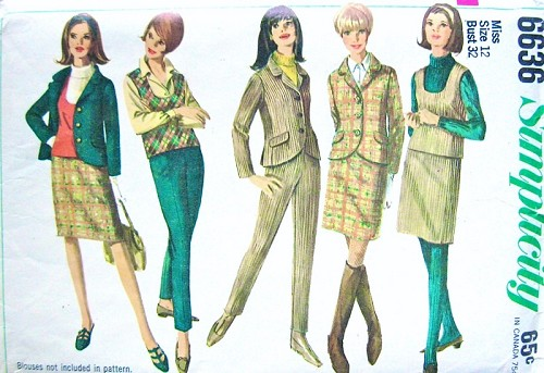 1960s MOD Separates Pattern SIMPLICITY 6636 Fab Skinny Pants,Jacket,Top and Slim Skirt Sixties London Style Bust 32 Vintage Sewing Pattern UNCUT