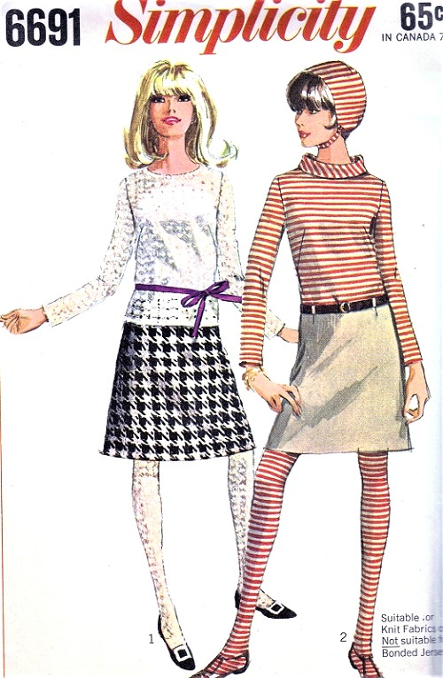 1960s MOD Skirt Blouse Top Hat and Stockings Pattern SIMPLICITY ...