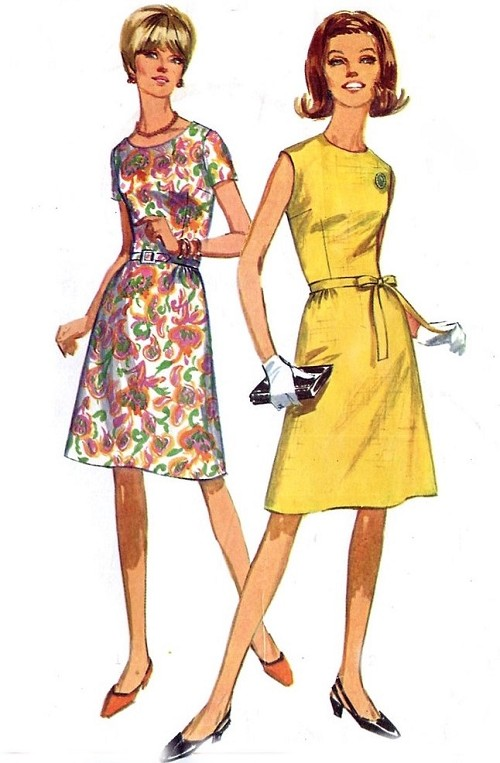 1960s MOD Aline Dress Pattern SIMPLICITY 6915 Two Easy To Make Styles Bust 38 Vintage Sewing Pattern FACTORY FOLDED