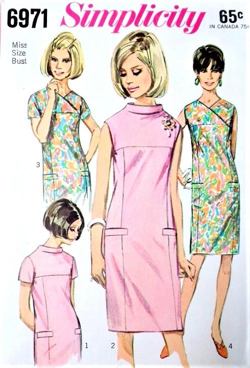 1960s MOD Slim Shift Dress Pattern SIMPLICITY 6971 Four Style ...
