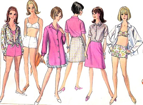 1960s MOD BeachWear Pattern SIMPLICITY 6972 Bathing Suit ,Shorts, Back Wrap Skirt, Beach Shift , Cover Up Shirt Weekend Wear Bust 34 Vintage Sewing Pattern UNCUT
