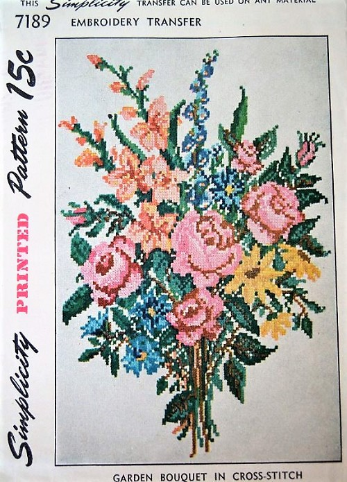 BEAUTIFUL 1940s Embroidery Transfer Pattern SIMPLICITY 7189 Titled Garden Bouquet Vintage Cross Stitch Embroidery Craft Pattern NEVER Used