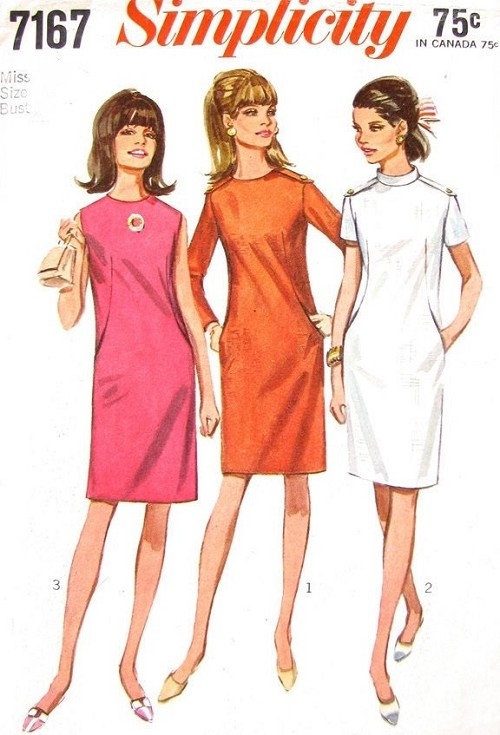 1960s FAB Mod Dress Pattern SIMPLICITY 7167 Three Cute Styles Bust 36 Vintage Sewing Pattern FACTORY FOLDED