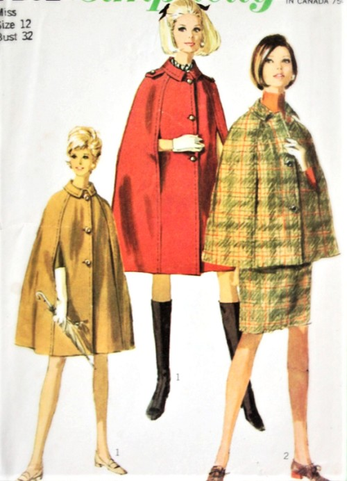 1960s CLASSY Cape and Pencil Skirt Pattern SIMPLICITY 7262 Cape Coat In 2 Lengths and Versions, Classic Slim Skirt Bust 32 Vintage Sewing Pattern