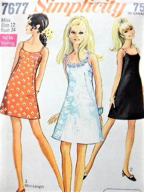 1d0ba343eb777 Vintage 60s Cute MOD Dress Pattern SIMPLICITY 7677 A Line Mini or Regular  Length Strappy Slip ...