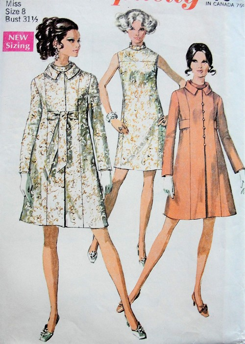 1960s MOD Vintage Coat and Sleeveless Evening Dress Simplicity 7975 Sewing Pattern Bust 31