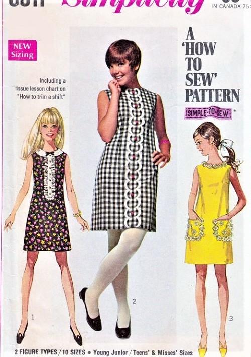 MOD 60s How To Sew Shift Dress Pattern SIMPLICITY 8011 Three Cute ...