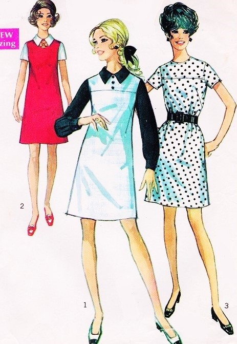 1960s CUTE Mod A Line Dress Pattern SIMPLICITY 8036 Three Kawaii Style Versions UNCUT Vintage Sewing Pattern Several Sizes Available