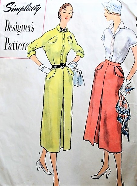 1950s FAB Tailored Blouse and Skirt Pattern SIMPLICITY Designers 8287 Kimono Sleeved Blouses, Slim Skirt Front Inverted Center Pleat, Interesting Pocket Details Bust 36 Vintage Sewing Pattern