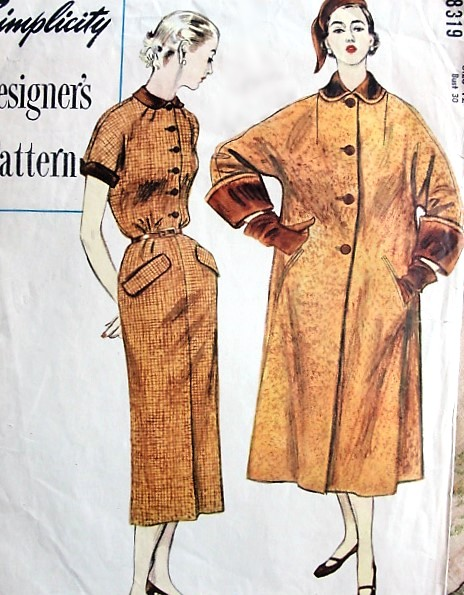 1950s CLASSY Slim Dress and Swing Back Coat Pattern SIMPLICITY Designers 8319 Classic Tailored Slim Dress , Coat Has Wide Cuffs and Back Fullness Bust 30 Vintage Sewing Pattern