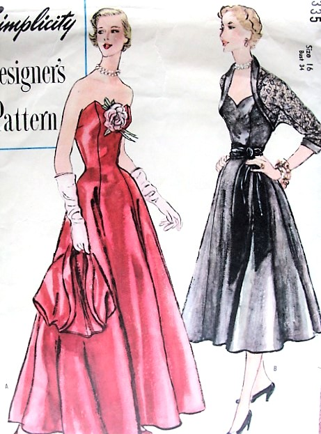 1950s GLAMOROUS Strapless Evening Gown and Bolero Jacket Pattern SIMPLICITY Designers 8335 Sweetheart Neckline, Formal or Cocktail Party Length Dress Bust 34 Vintage Sewing Pattern