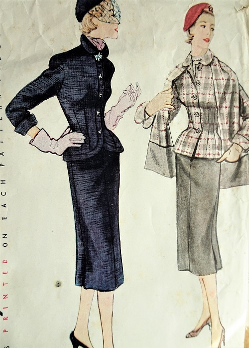 1950s CHIC Slim Skirt Suit and Stole Pattern SIMPLICITY 8422 Beautifully Fitted Jacket, Pencil Slim Skirt Pocket Stole Bust 34 Vintage Sewing Pattern