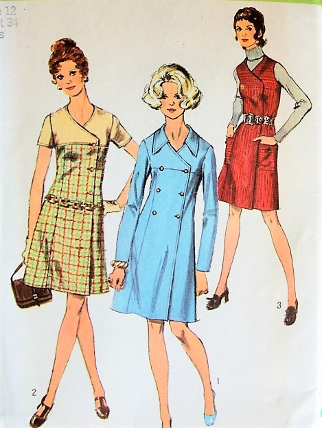 Vintage 1960s STYLISH Double Breasted Coat Dress or Jumper in Three Styles Simplicity 8911 Sewing Pattern Bust 34