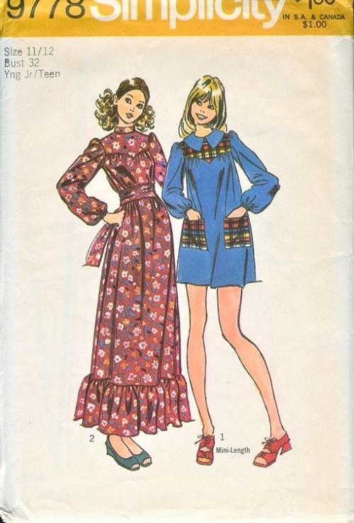 86fa7456874 1970s CUTE Lolita Style Maxi or Mini Dress Pattern SIMPLICITY 9778 ...