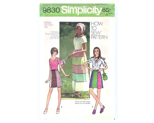 70s SIMPLICITY 9830 How to Sew Pattern Mini or Maxi Skirt , Sun Bonnet and Pouch Bag sz 16/18  Vintage Sewing Pattern Uncut