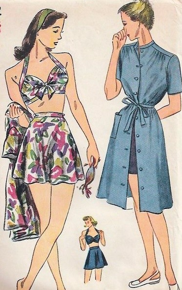 1940s PIN UP Style Bathing Suit and Beach Dress Play Suit Pattern SIMPLICITY 1022 WW II Bra Top Flared Skirt Swimsuit Front Button Cover Up Dress Bust 30 Vintage Sewing Pattern