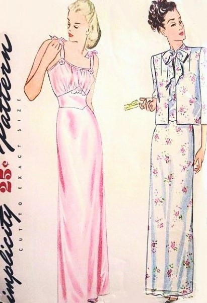 1940s Beautiful Nightgown and Bed Jacket Pattern Lovely Gathered ...