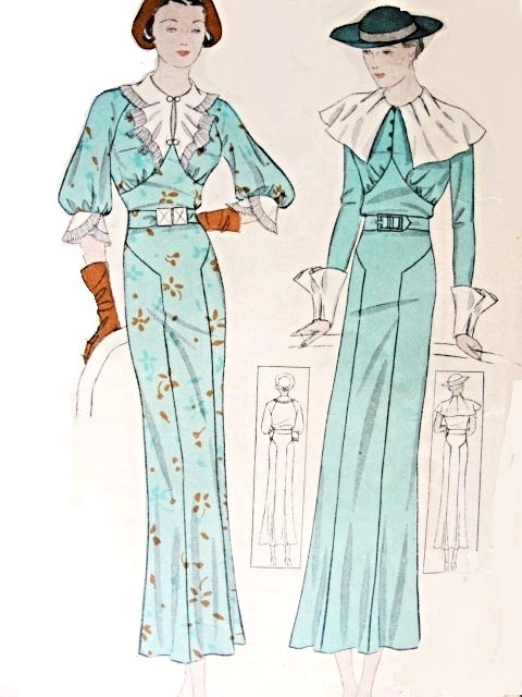 1930s Beautiful art Deco Dress Pattern 2 Stunning Neckline and Cuff ...