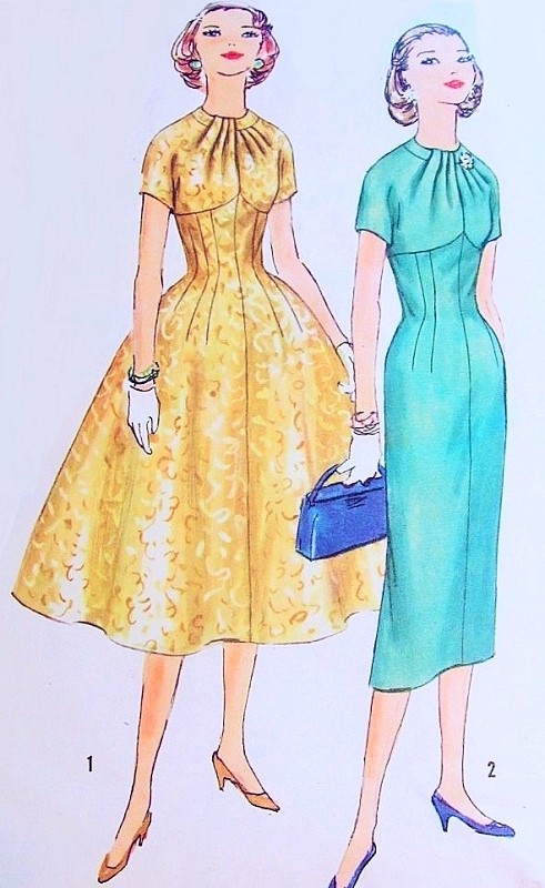 1950s Lovely Slim or Full Skirt Dress Pattern Simplicity 1849 Empire line  Stunning Draped Neckline Day or Evening Bust 34 Vintage Sewing Pattern