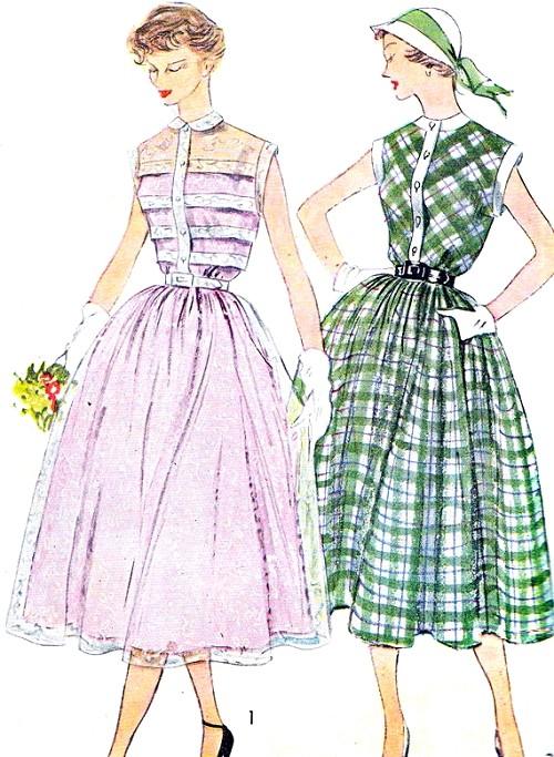 1950s Dress Pattern Simplicity 3252 Feminine Day or Party Shirt Dress  Two Styles Peter Pan Collar Pin Tucked Bodice Version Perfect For Sheer Fabrics  Bust 32 Vintage Sewing Pattern