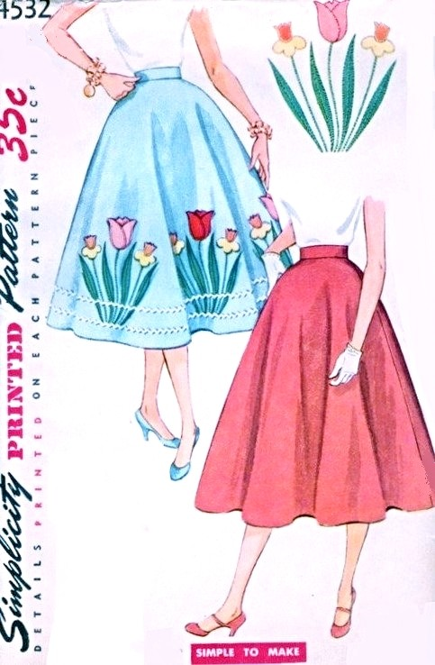 1950s Rockabilly Half Circle Skirt Pattern Simplicity 4532 Transfer